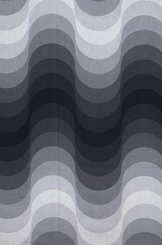 primoslejanos:  1. 1970s. Diseño textil Mira Spectrum. Verner Panton. 2. 1976. Modulation 62. Julio Le Parc.