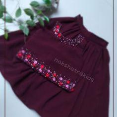 Red colour top handwork with light golden skirt - Nakshatra Kids Frocks For Babies, Frocks For Girls, Kids Frocks, Dresses Kids Girl, Hand Embroidery Dress, Kurti Embroidery Design, Party Wear Frocks, Girls Frock Design, Kids Dress Wear