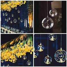 Hanging Glass Bubble & Teardrop Votives over the head table at a wedding can add a whimsical feel and create a nice soft lighting during the night. Change it up by putting loose flowers in some of the glass holders as well. This can be done on most any drop ceiling or from a gazebo