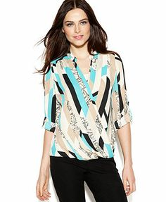 a32d38e73c8 Alfani Multi-Print Faux-Wrap Blouse & Reviews - Tops - Women - Macy's