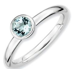 Sterling Silver Stackable Expressions Low 5mm Round Aquamarine Ring