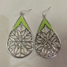 """Silver/lime earrings Silver dangle pierced wire earrings w/intricate silver pattern and lime (neon) green accents. Total length of pendant part is about 2 1/8"""". No flaws. Backs are all silver colored (2nd photo). Please ask any questions prior to purchasing. Thank you! Jewelry Earrings"""