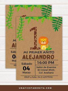 invitation for safari themed first year Safari Theme Birthday, Wild One Birthday Party, Baby Party, Baby Birthday, First Birthday Parties, Birthday Party Themes, First Birthdays, Birthday Cards, Lion Party