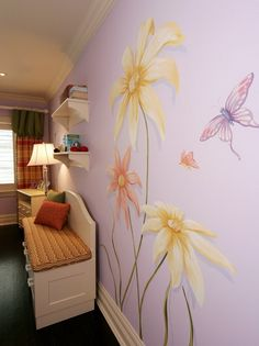 Wall mural for garden themed guest room