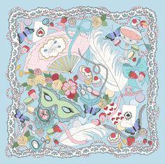 100% silk illustrated scarf, Marie Antoinette by EmmaKisstina