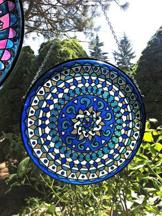 Mandala Suncatcher in Blue and White  Recycled Drum by EyePopArt
