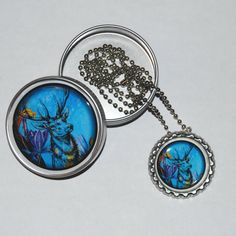 Stag Bottle Cap Necklace and Gift Tin by KimenyCricket on Etsy, $9.99