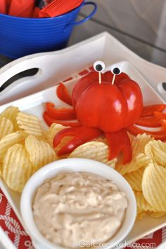 Crab Party Dip - cut a red pepper to look like a crab! Crab Party Dip - cut a red pepper to look like a crab! Lobster Party, Crab Party, Shark Party, Lobster Boil, Party Party, Little Mermaid Birthday, Little Mermaid Parties, Party Dips, Nautical Party