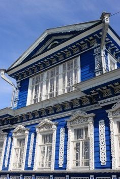 Blue decorated wooden house in Nizhni Novgorod, Russia