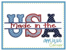 Made in the USA Split Applique Design