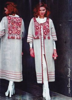 "Photo from album ""Fashion Magazine No. on Yandex. Crochet Coat, Crochet Jacket, Crochet Cardigan, Crochet Clothes, Long Cardigan, Abaya Fashion, Fashion Dresses, Abaya Mode, Hijab Stile"