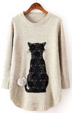 Beige Long Sleeve Cat Pattern Twisted Ball Sweater