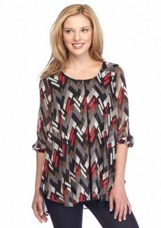 New Directions  Printed High Low Split Front Blouse