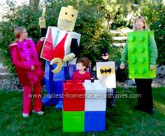 Homemade Lego Family Halloween Costume: We needed to  come up with an idea for family Halloween costumes that were disability friendly...so our Homemade Lego Family Halloween Costume idea was