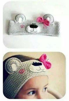 47 Super Ideas for crochet kids headbands hair accessories Crochet Kids Hats, Love Crochet, Crochet Crafts, Crochet Dolls, Crochet Clothes, Crochet Lace, Crochet Projects, Crochet Bear Hat, Knitting Patterns