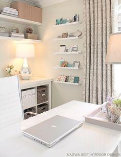 nsinteriordesign.com - white narrow shelves in cream & white home office