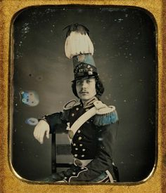 chubachus:  Hand-colored daguerreotype portrait of an unidentified American militia officer. Source.
