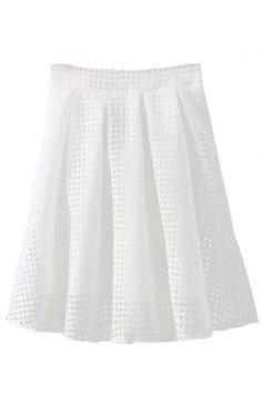 White Hollow High Waist Plaid Midi Organza Skirt