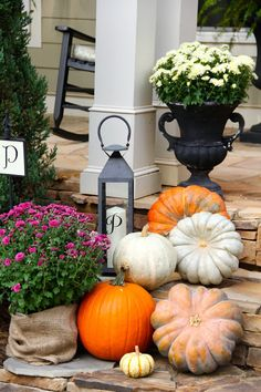 fall porch fall entryway Southern Soul Mates: Fall Home Tour 2013 #pumpkins