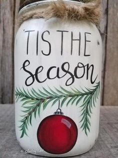 Tis The Season Christmas Mason Jar Christmas Decor Hand image 1 Tis The Season Weihnachten Einmachglas Christmas Decor Hand Bild 1 Christmas Mason Jars, Christmas Diy, Christmas Wreaths, Christmas Decorations, Christmas Ornaments, Vintage Christmas, Baby Ornaments, Xmas, Christmas Wedding