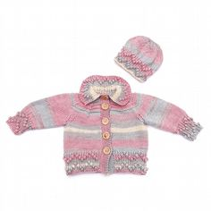 Hand knitted baby bobble trim cardigan and hat 0 - 6 months - baby clothes £30.00