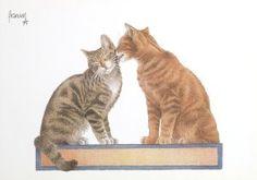 Postkaarten    Francien's Katten    Francien Westering, van    C6102    Katten (Rood), Postkaarten, Tekeningen, Dieren, Katten,