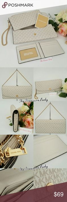 """Michael Kors Juliana Flap 3 in 1 wallet clutch MK *Authentic *NWT *Style # 32S6GJRE9B *Signature Monogram MK Logo Juliana 3 in 1 Large Flap wallet, wristlet, coin clutch *Vanilla (white) color *Gold-tone hardware *MK logo all over *Measurements: 4"""" H x 8.75"""" L x 1"""" D *6"""" chain handle *An outer slip compartment *UPC 190049157558 *You'll get a wallet that funcions like 3 other ones! Use it as a full size wallet, flap wallet or as a clutch.  Please no trades, price is firm  Same day shipping if…"""