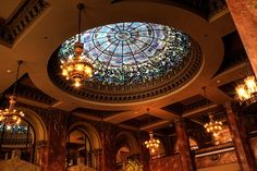 the stained glass dome in the library