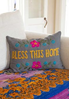 Bless Hand Embroidered Pillow Natural Life Natural Life, Staycation, Get One, Cotton Canvas, Blessed, Bohemian, Couch, Throw Pillows, Make It Yourself