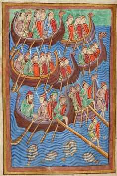 Landing of Danes   Miscellany on the life of St. Edmund   England, Bury St Edmunds    ca. 1130   The Morgan Library & Museum