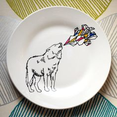 Hand Drawn Plate - Run With The Wolf Pack. $38.25NZ, via Etsy.