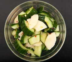Cucumber And Nashi (asian Pear) Marinated Salad With Cucumber, Asian Pear, Salt, Soy Sauce, Rice Vinegar, Sugar, Hot Red Pepper Flakes