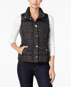 Charter Club Petite Dot-Print Quilted Vest, Only at Macy's - Black P/XL