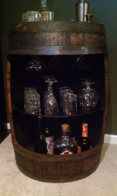 Whiskey Barrel Display Liquor Cabinet By BarrelWorx On Etsy, $325.00