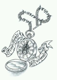 "Pocket watch tattoo. Make the chain an infinity symbol, no hands on the clock an the quote will be "" a legacy is timeless"""