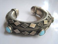 Vintage Bedouin Bracelet - Silver Horseshoe Cuff from Hijaz - Arabian Peninsula - Tribal Jewelry - Ethnic Jewelry