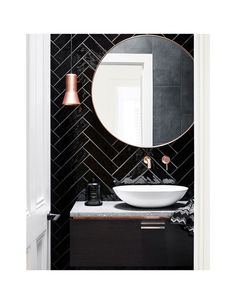 Powder room with liquid gloss subway tile in this minimalist Australian home. Scandivanian design, simplicity and minimalism were points of reference when Maitland Street Interiors tackled the renovation California Bungalow in Glen Iris. Black Tile Bathrooms, Modern Bathroom, Small Bathroom, Black Bathroom Sink, Master Bathroom, Black Subway Tiles, Black Tiles, Black Powder Room, Powder Rooms