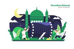 , Ramadhan Mubarak - Vector Illustration- Suitable for your design needs, All elements on this template are editable with adobe illustrator! Editable Text, Before you open the Illustrations, Flat Illustration, Poster Ramadhan, Ramadan Poster, Eid Mubarak Vector, Anime Muslim, Vector File, Eps Vector, Islamic Art