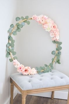 Blush floral hoop would make an amazing hanging backdrop for baby shower decor nursery decor hanging in a little girls room Pink Roses Eucalyptus and a Gold Hula hoop mak. Deco Floral, Floral Wall, Baby Shower Floral, Baby Shower Pink, Baby Shower Wall Decor, Baby Shower Backdrop, Baby Shower Flowers, Diy Bebe, Floral Hoops