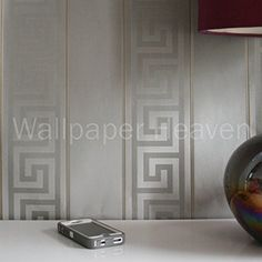 Versace 'Greek Key Stripe' Designer Satin Wallpaper in Grey/Silver Full Roll White And Silver Bedroom, White Bedroom, Geometric Wallpaper Silver, Versace Tiles, Black Wallpaper Bedroom, Home Stairs Design, Versace Home, Wall Decor Design, Interior Decorating
