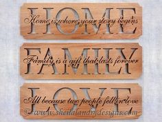 "SLDK313 - Set of ""Home, Family & Love"" Word Art 