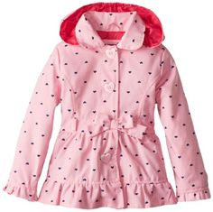 Pink Platinum Girls 2-6X Polka Hearts Trench Rain Jacket, Navy, 2T ...
