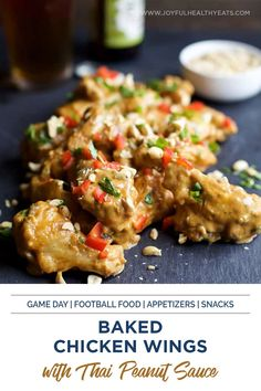These Crispy Baked Chicken Wings are baked in the oven then tossed in a Spicy Thai Peanut Sauce. Believe me you'll be licking your fingers after this one! Add this easy appetizer or snack recipe to your game day menu. #footballfood #footballseason #appetizers Healthy Eating Recipes, Healthy Eats, Healthy Snacks, Appetizer Recipes, Snack Recipes, Appetizers, Crispy Baked Chicken Wings, Thai Peanut Sauce, Spicy Thai