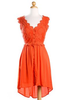 Prairie Sunset Crochet Button Down Sleeveless Dress in Poppy Orange