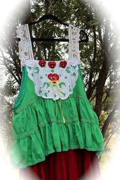Sweet Spirit Of Christmas Present Jumper Dress Rustic North Pole Nordic Style Lace Cutwork Fluff and Twirl OOAK by IzzyRoo on Etsy