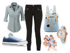 """Combination for school"" by caleb-hogan-330 ❤ liked on Polyvore featuring LE3NO, J Brand, Converse and Paul & Joe Sister"