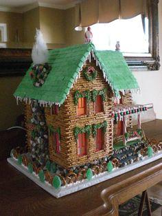 Pretzel log cabin