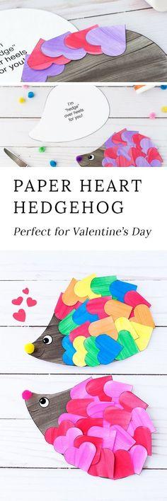 Paper heart hedgehog craft for kids
