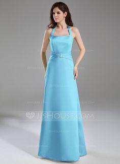 A-Line/Princess Halter Floor-Length Satin Bridesmaid Dress With Ruffle Crystal Brooch (007001863)