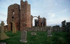 Ruins of 7th Century Lindisfarne Priory, off the coast of Northumberland, England